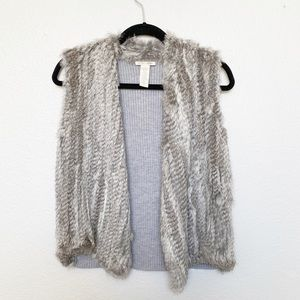 White + Warren Grey Rabbit Fur Wool Vest Small